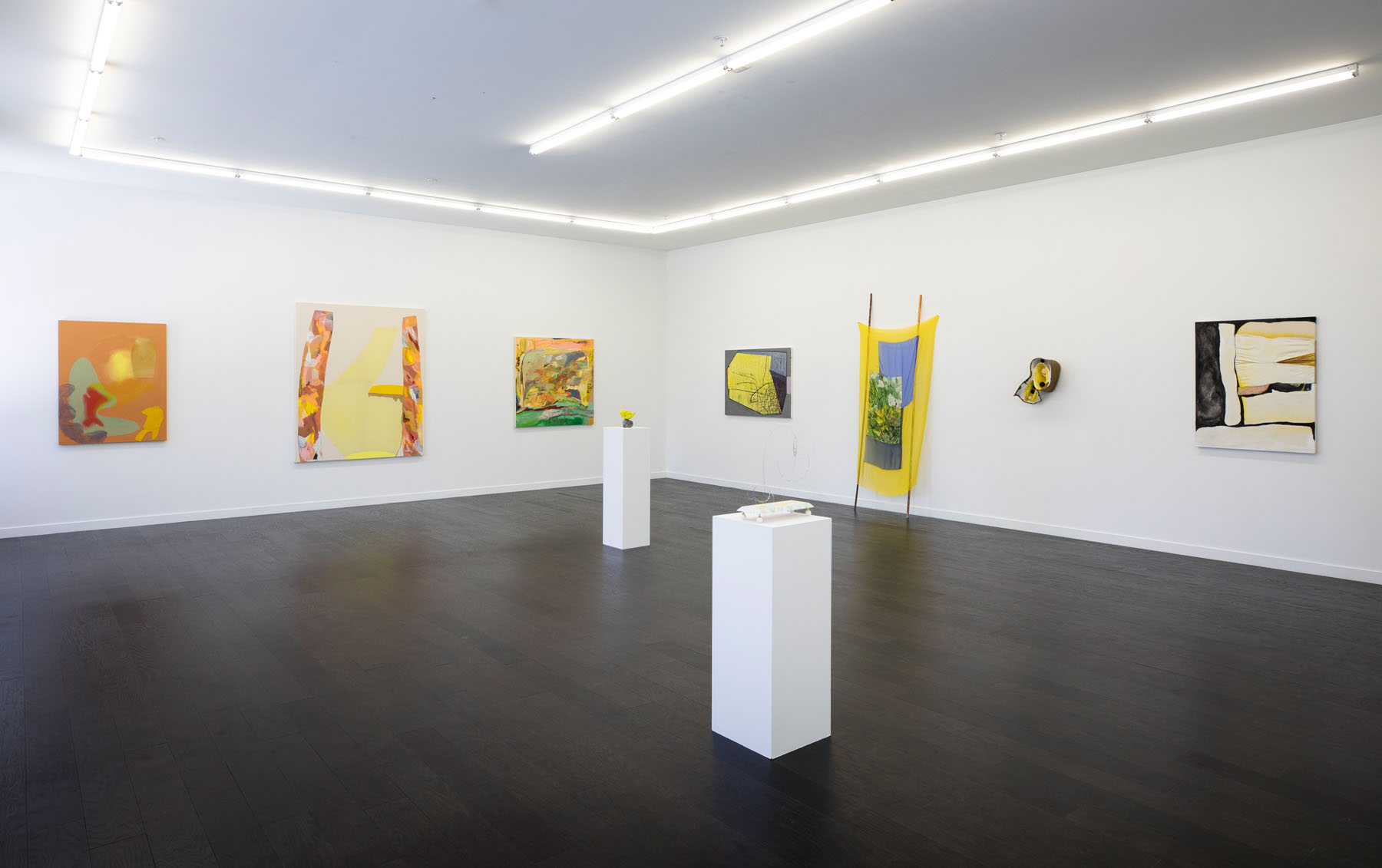 """Yellow"" at September Gallery, Hudson, NY, June 22 - August 4, 2019 Left to right: Odessa Straub, Amanda Valdez, Ashley Garrett, Michelle Segre, Brenda Goodman, Sun You, Lauren Luloff, Kianja Strobert, Annie Bielski"