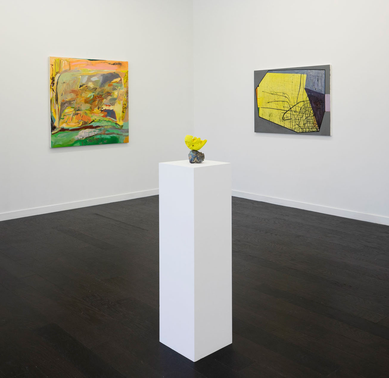 """Yellow"" at September Gallery, Hudson, NY, June 22 - August 4, 2019   Left to right: Ashley Garrett, Michelle Segre, Brenda Goodman"