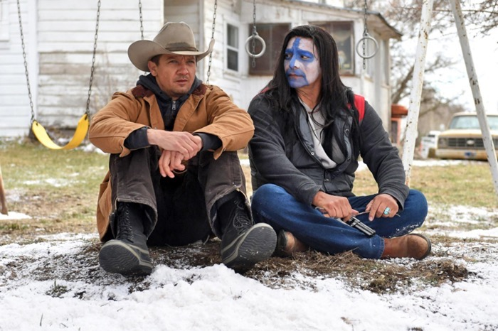 Jeremy Renner and Gil Birmingham in WIND RIVER (2017).