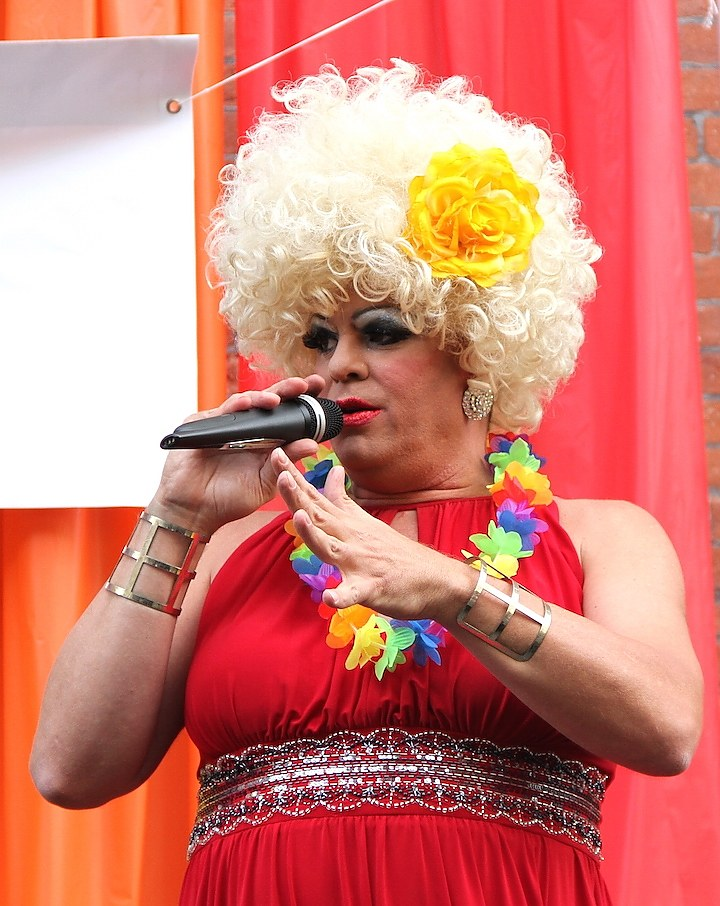 Banks at last year's New Haven Pride Parade, which she emcees each year. David Sepulveda for the New Haven Independent.