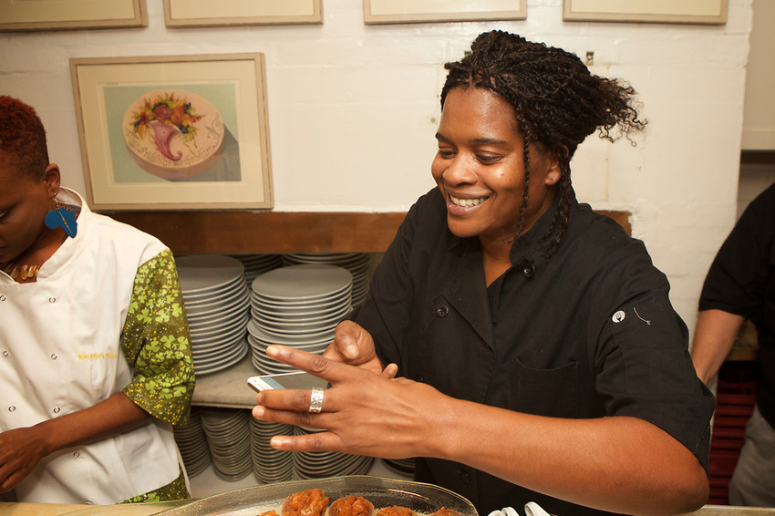 Nelson at the James Beard House dinner earlier this fall. A one-woman army, she was tasked with appetizers and cocktails. Copyright Clay Williams for the New York Times, with permission from the photographer.