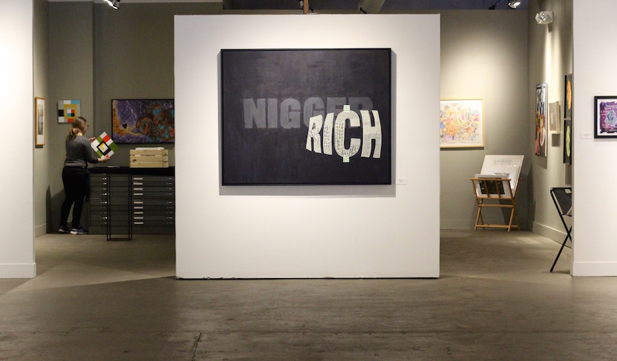 Nigger Rich I  sits at the center of the gallery, on a freestanding wall. Lucy Gellman Photo.