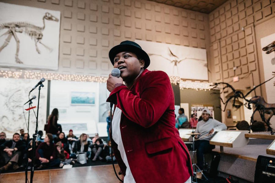 Moon earlier this year at the MLK Day Poetry Slam at the Yale Peabody Museum of Natural History. Photo courtesy Moon.