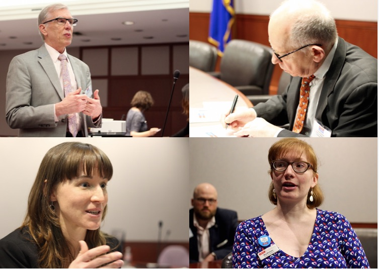 Clockwise, from top: Connecticut State Librarian Kendall F. Wiggin, David Green of the Cultural Alliance of Fairfield County, NEMA Director of Engagement Meg Winikates, and Connecticut League of History Organizations Executive Director Laurie P Lamarre. Lucy Gellman Photos.