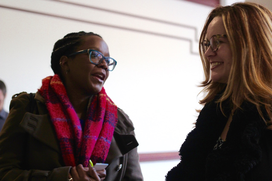 Vivian Nabeta and Shannon Burke on their way to Rep. Ritter's office. The two also visited Democratic State Sen. Doug McCrory, who represents Hartford.