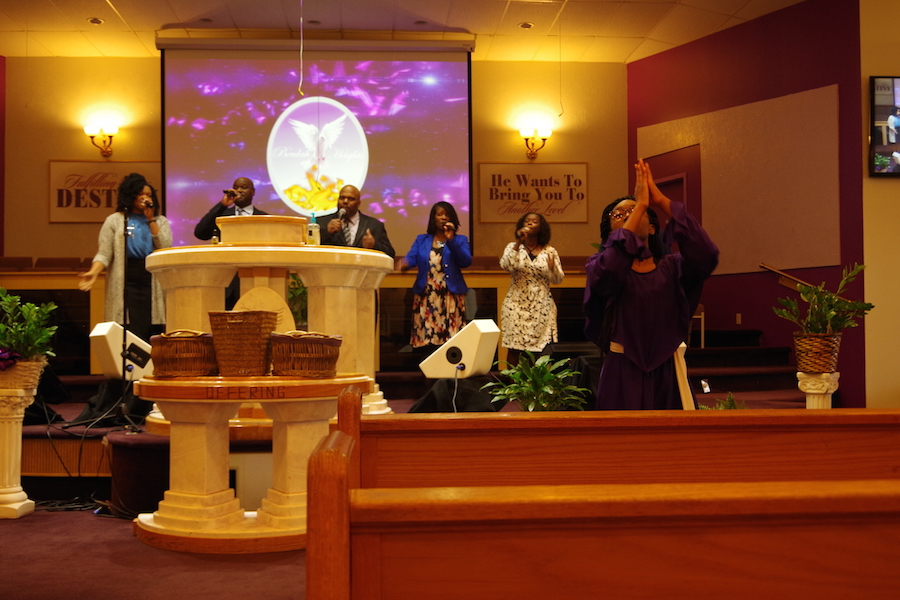 """Praise team leader Gina Caldor:""""God...continued to speak to [Bishop Brooks] about praise dance being a part of the worship experience at Beulah and he actually approached us three years later and said, 'Let's do it!'"""" Samantha Sims Photos."""