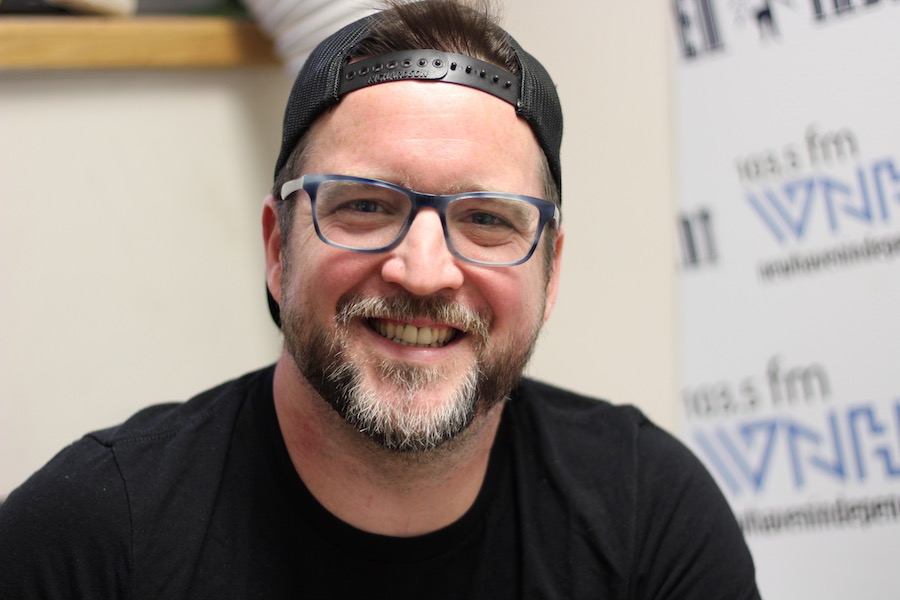 Podcast host turned curator AJ Keirans in the WNHH Community Radio studio in early July.