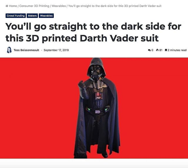 In the news!  www.3dprintingmedia.network/3d-printed-darth-vader-suit/  Released on Kickstarter now.  Link in Bio.  Follow me for more info.  You can get the entire suit, the upper body, or just the helmet. Kickstarter coming soon!  The suit is fully wearable and display ready inside and out. Nothing like it.  Follow me for more updates in the coming few weeks.  Everything but the clothing and electronics is 3D Printed. Yes that's right, this is the next step in 3D printed designs. You can make the entire thing in an off the shelf 3D Printer.  How do you get one? Follow me to find out about when we launch on Kickstarter.  #darth #darthvader #starwars #lucasfilm #Disney #lukeskywalker #theforce #501stlegion #costume #props #diy #custom #cosplay #starwarsmemes #thedarkside  #kickstarter #crowdfunding #wearabletech #wearable #skywalker #riseofskywalker #starwarscelebration #starwarsnerd #3dprinter #3dprinting #technology #futuretech #3dprint #3dprintable #3dprinters