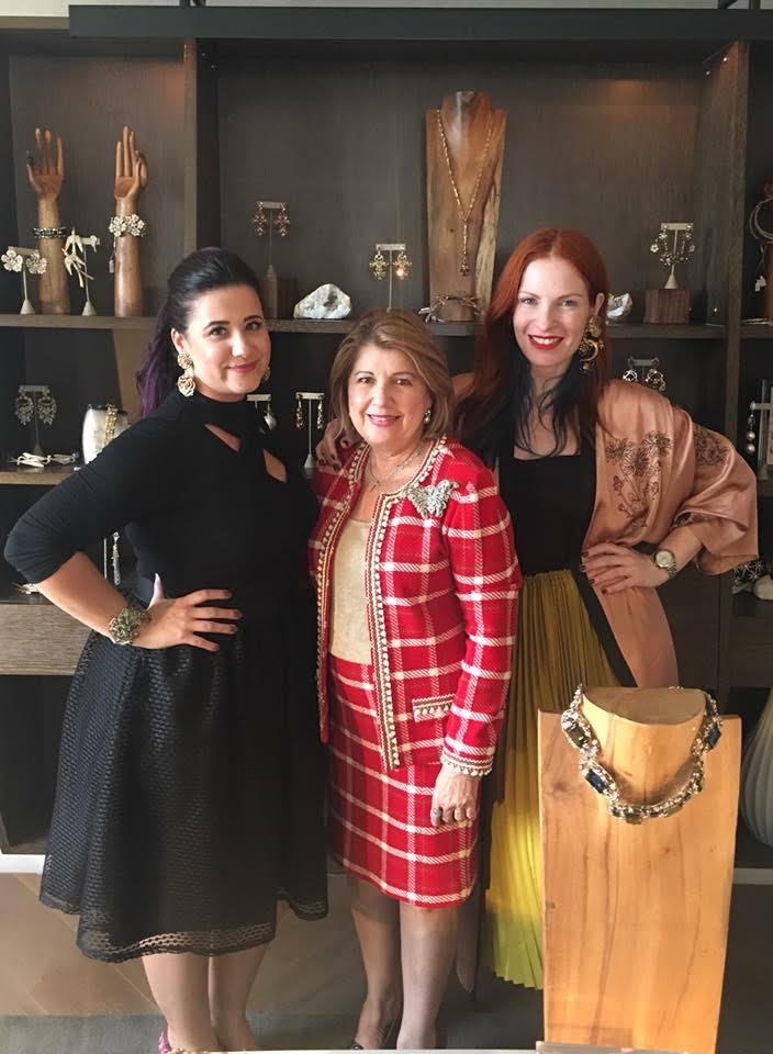 Roberta with designer Maria elena and her fashion director gisele.