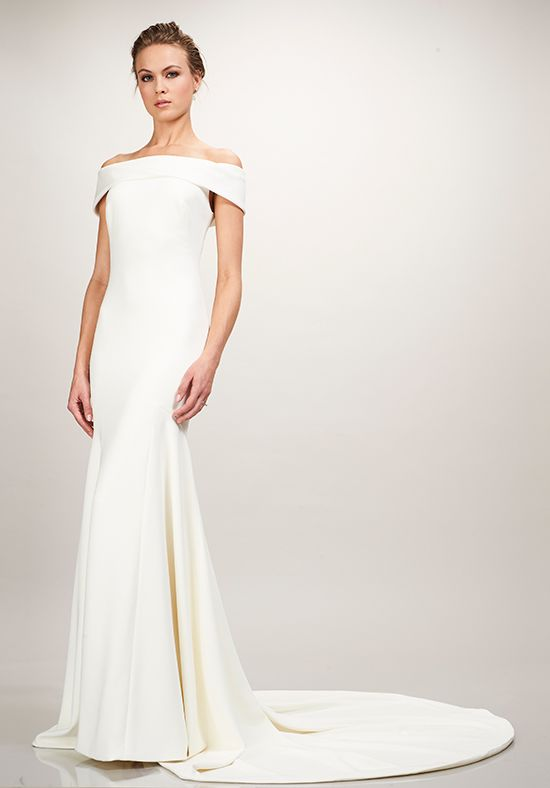 Off the shoulder crepe Theia wedding dress in Winter Park, FL