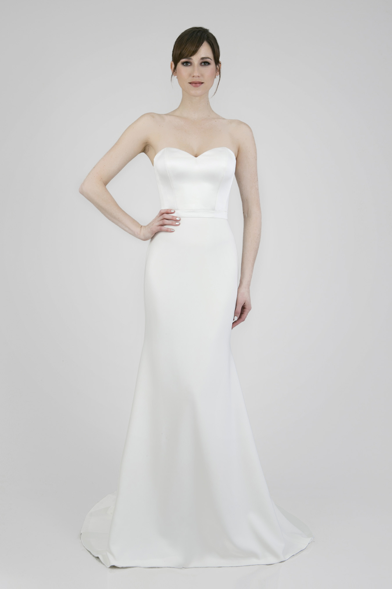 Clean crepe and satin wedding dress with sweetheart neckline Orlando, FL