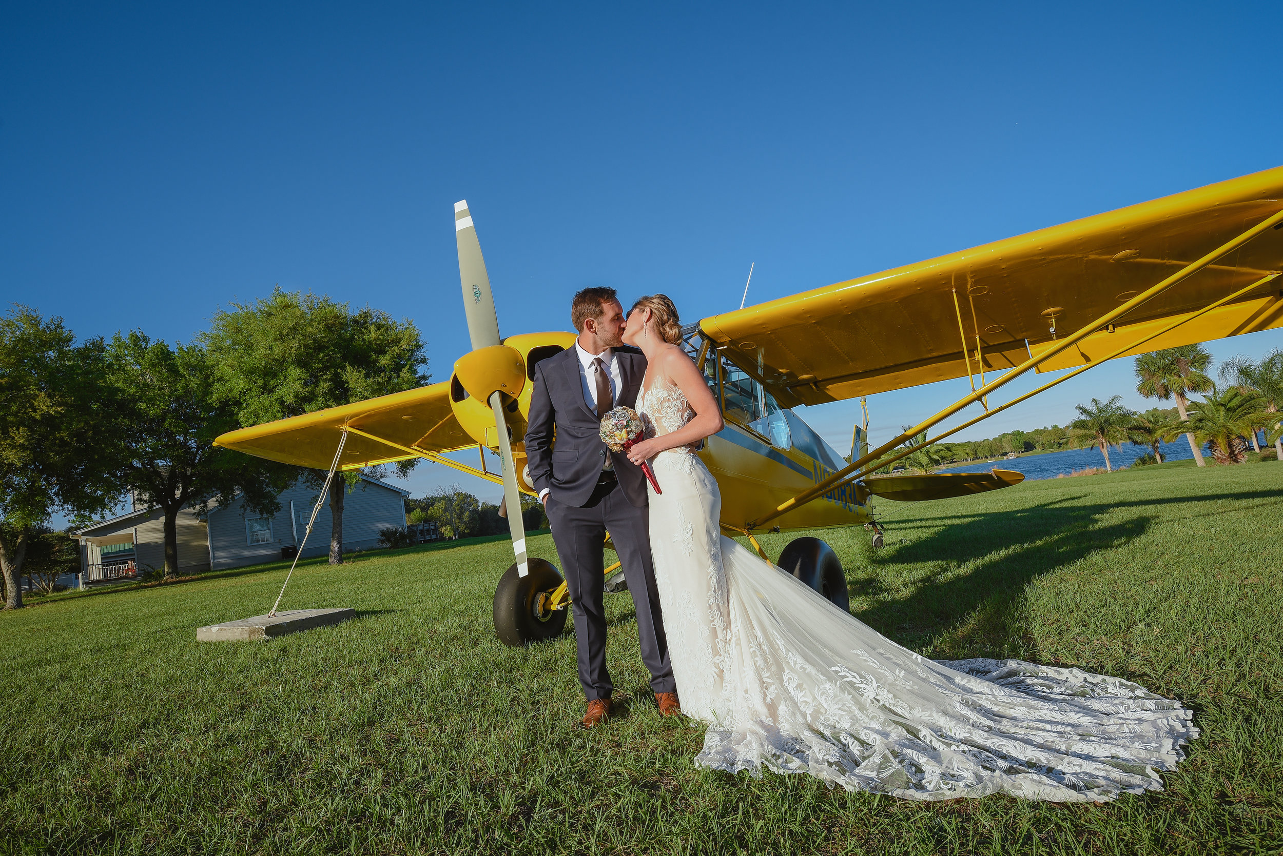 Wedding just outside of Orlando at a private airplane hangar