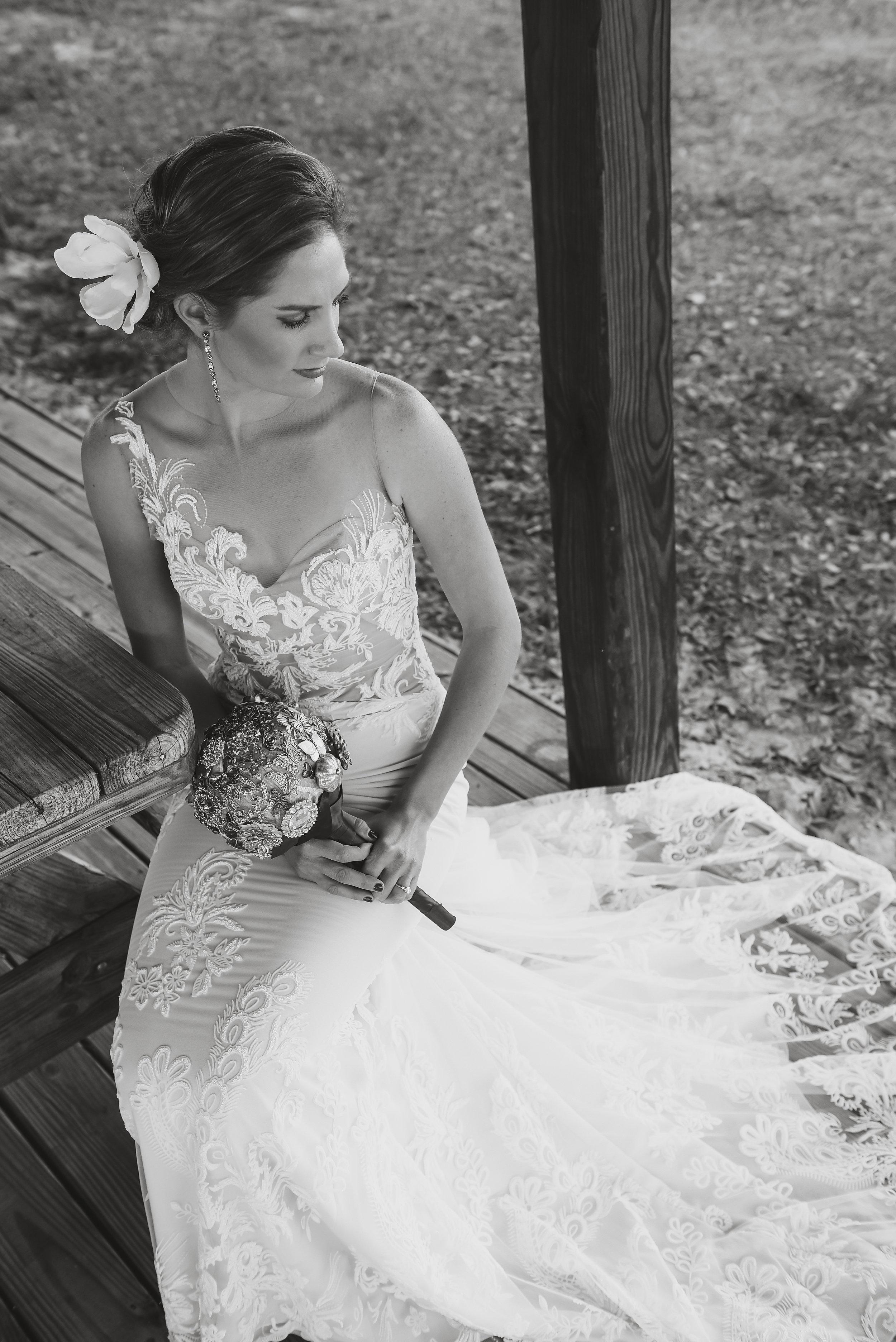 Florida bride wearing ines Di Santo