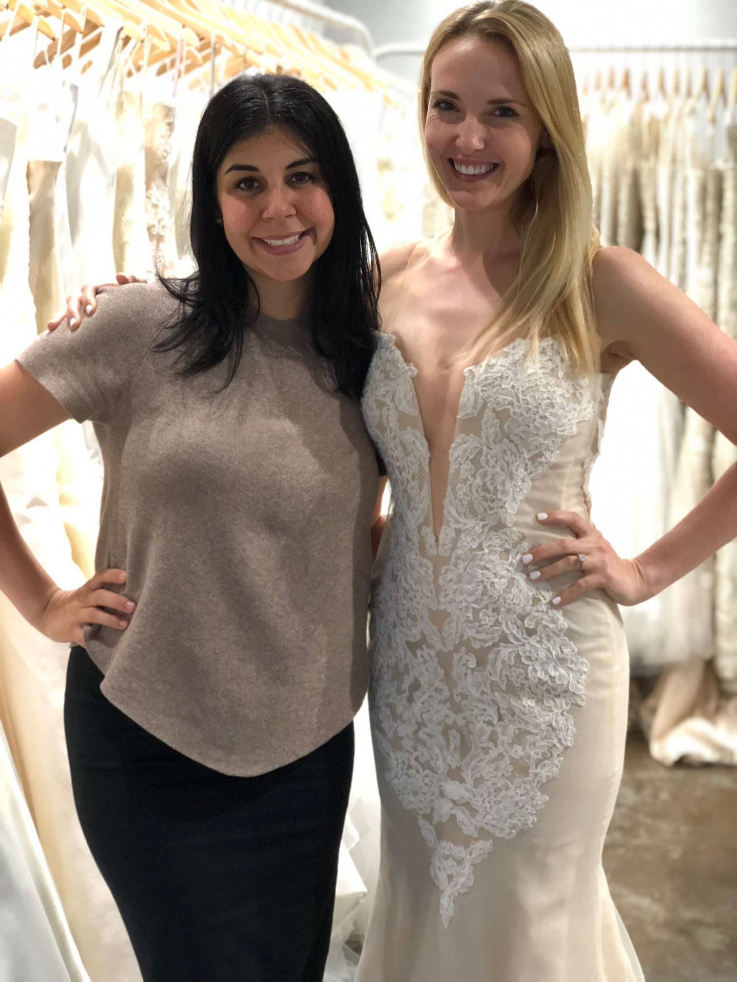 tali with kari during a bridal gown fitting