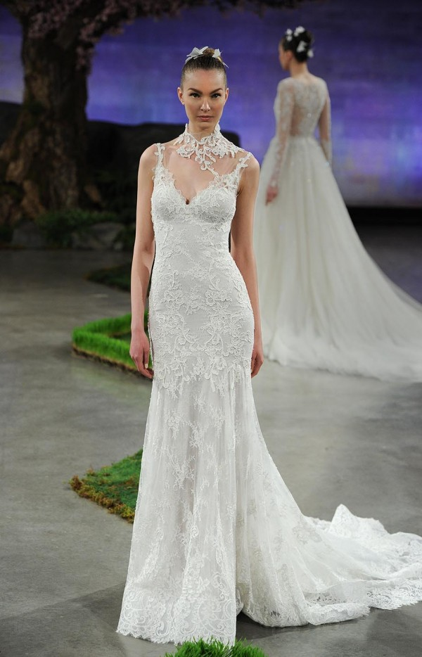 Lace fitted mermaid wedding dress from Ines Di Santo. Low back detail with mesh illusion.