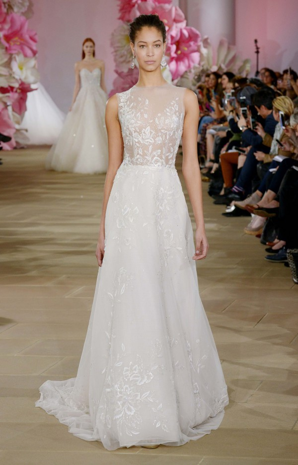 Aline wedding dress with beaded details on the aline train by Ines Di Santo