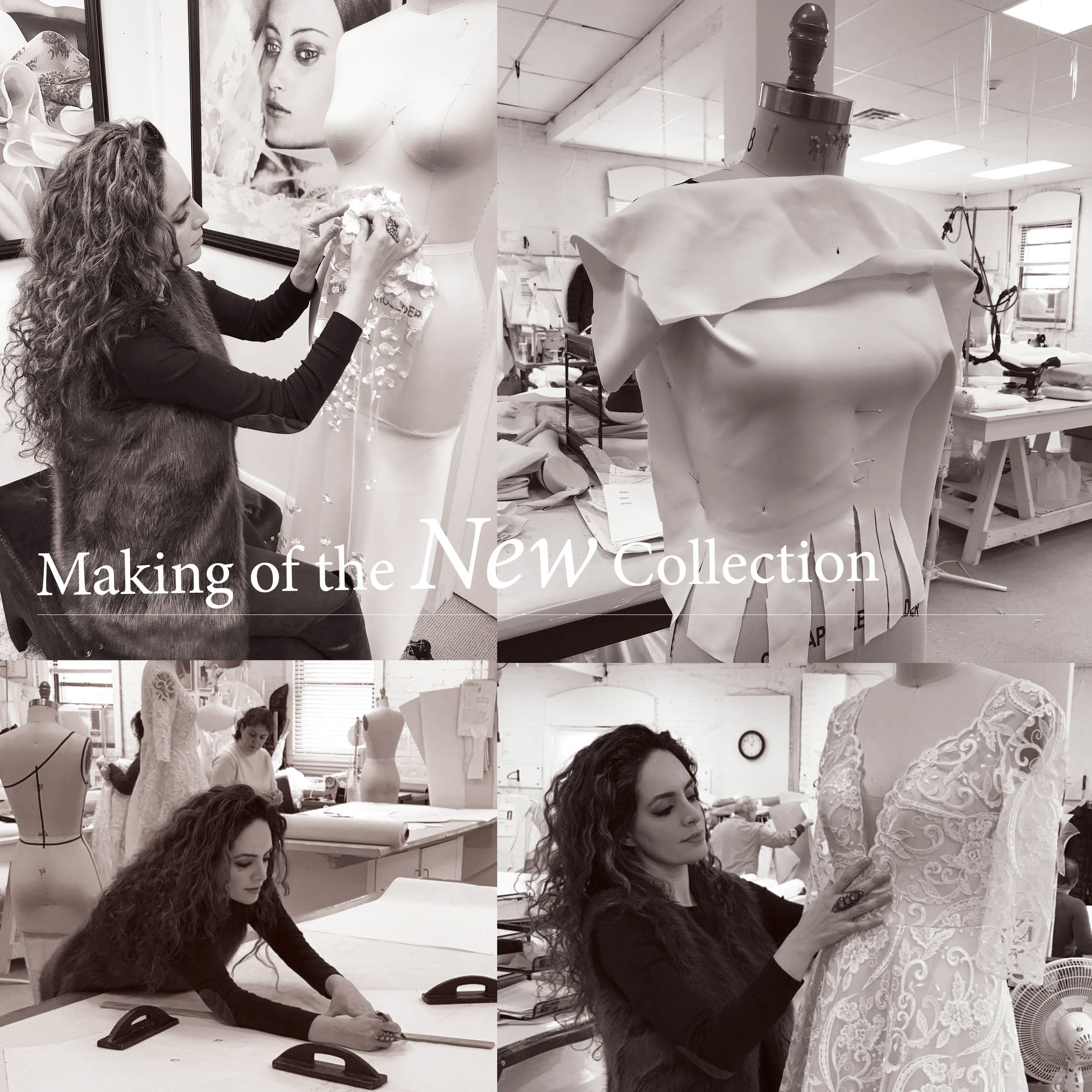 Sareh Nouri in the design studio creating her newest collection.