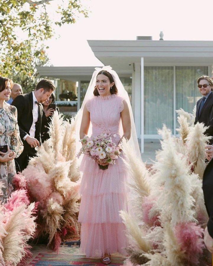 pink wedding dress Rodarte Mandy More celebrity weddings 2018