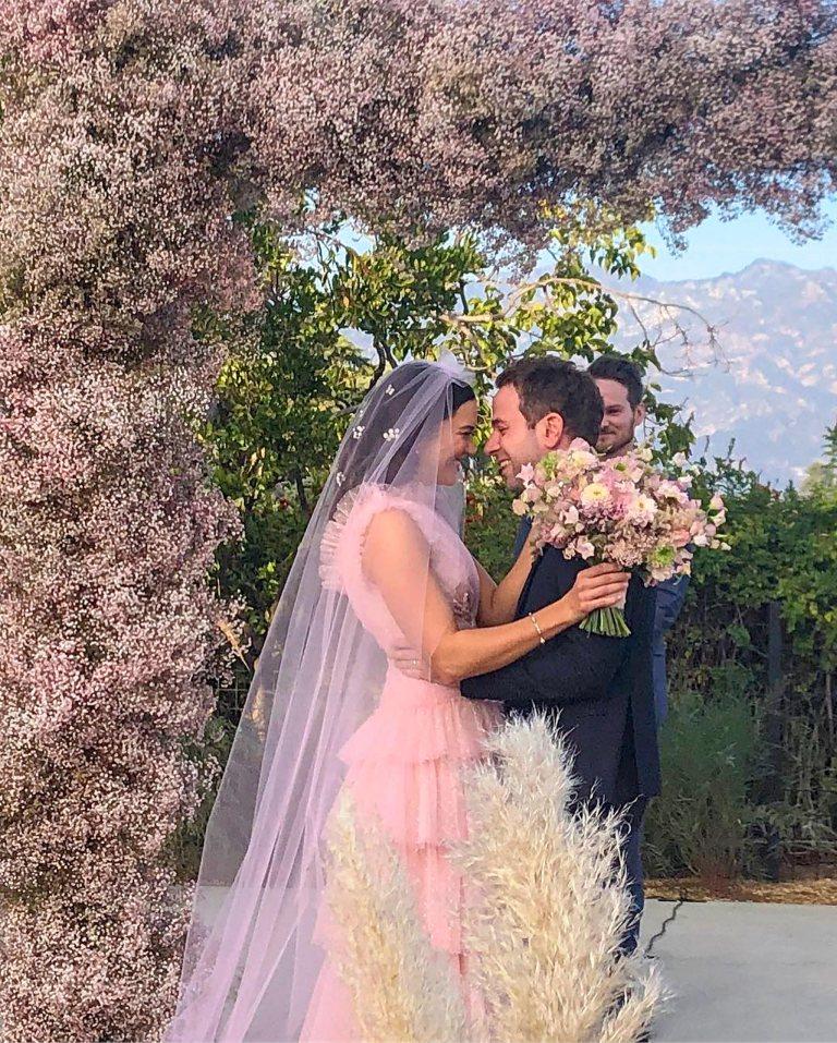 Mandy moore wedding gown outside wedding pink wedding Rodarte