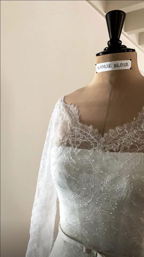 a custom dior wedding gown for Karlie Kloss 2018 celebrity wedding