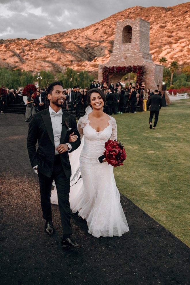 Nazanin Mandi wedding photo monique lhuillier bride wedding gown 2018 celebrity wedding