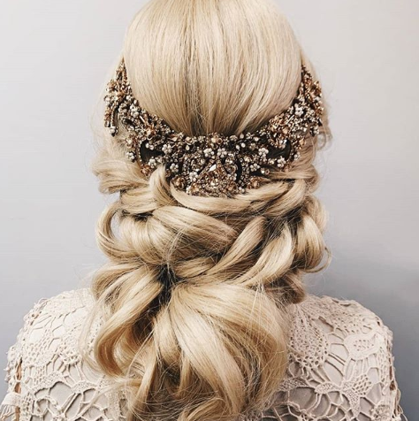 hairpiece for wedding day hair and makeup