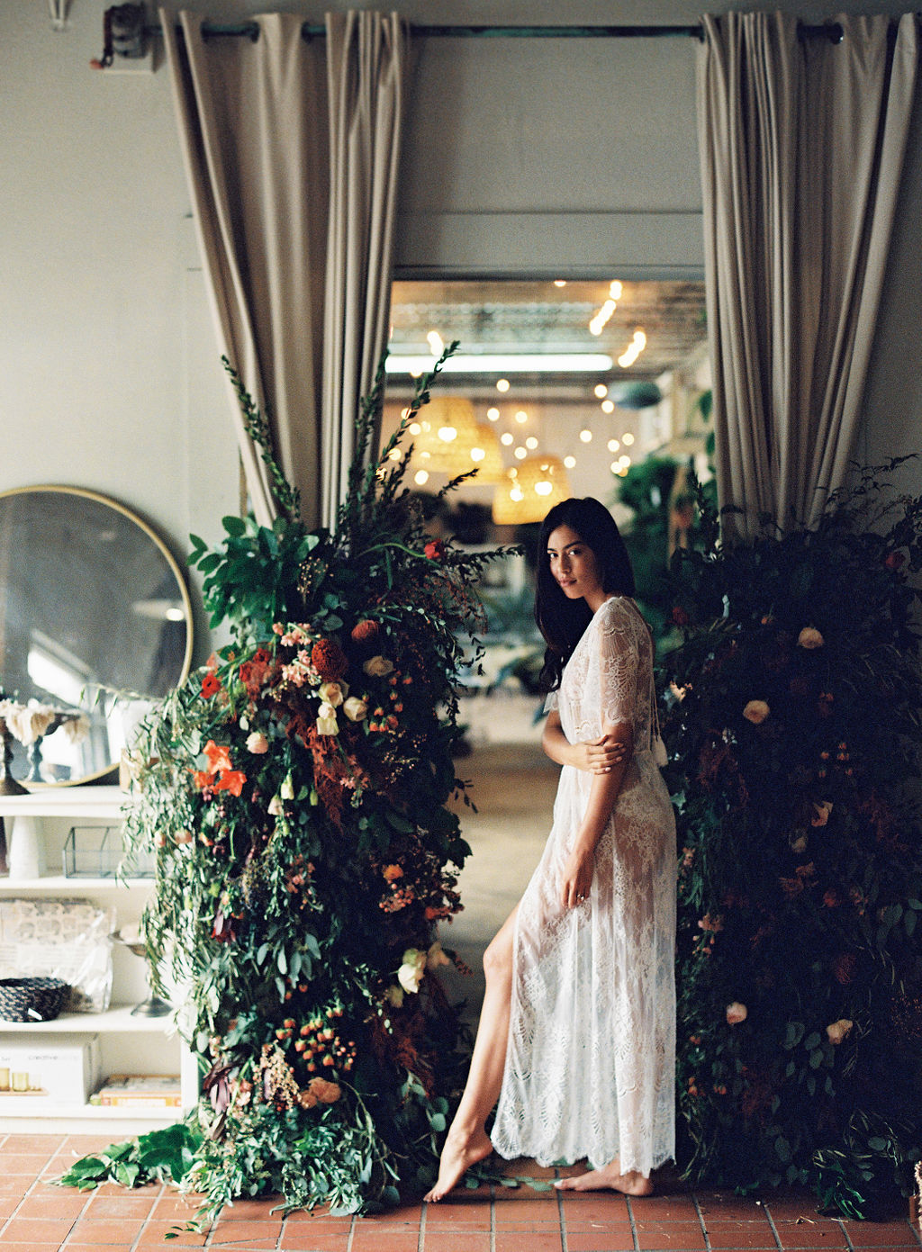 Floral wall ivory lace robe girl and a serious dream