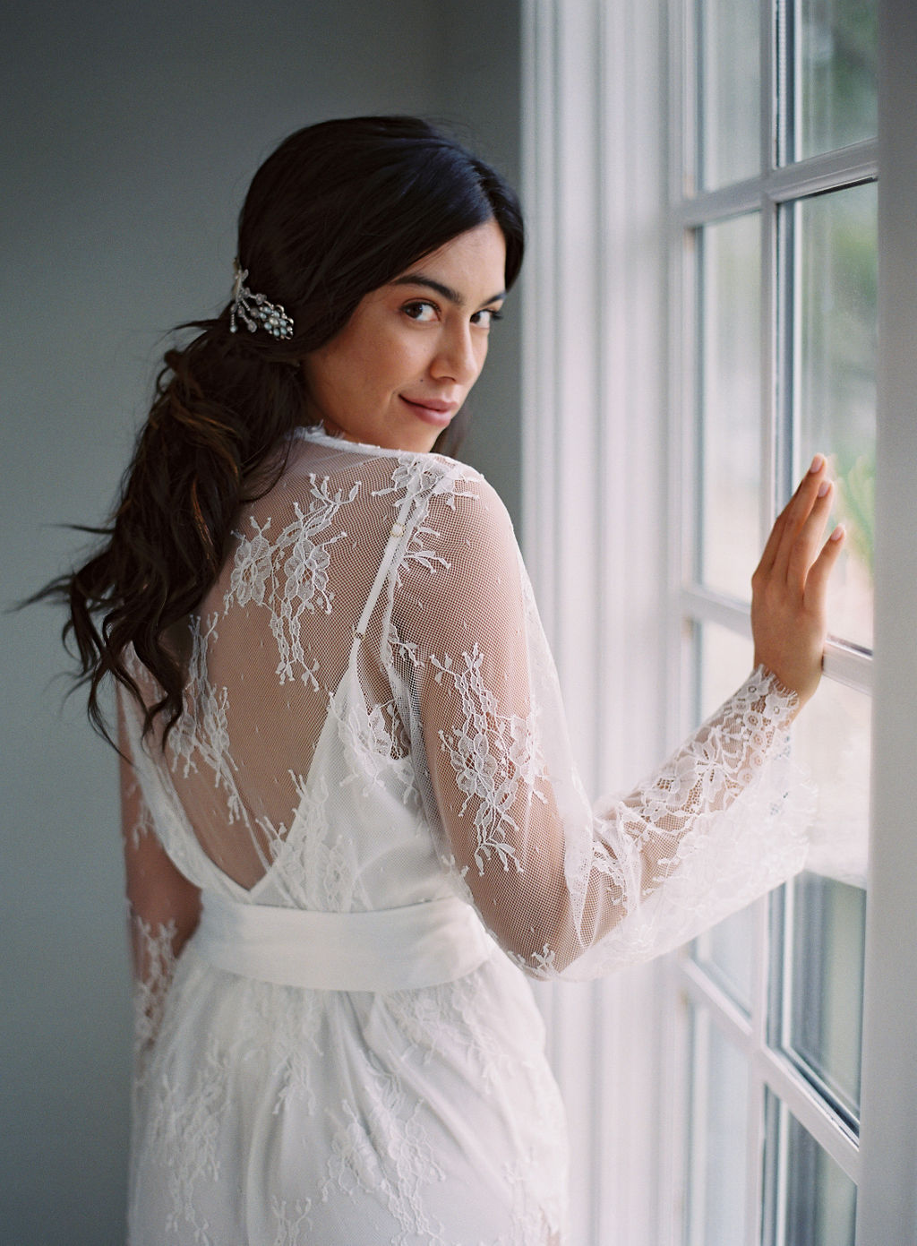 ivory lace robe bridal robe girl and a serious dream