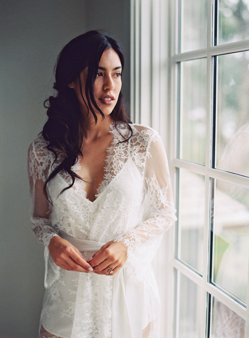 Lingerie photoshoot bridal robe french lace robe girl and a serious dream