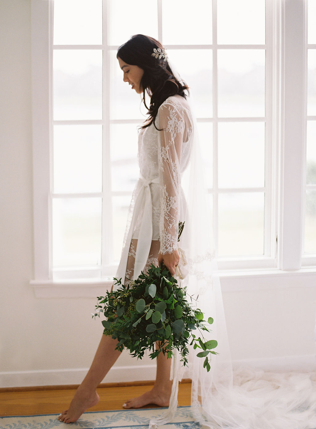 greenery bouquet bridal lingerie lace bridal robe boudoir bridal shoot