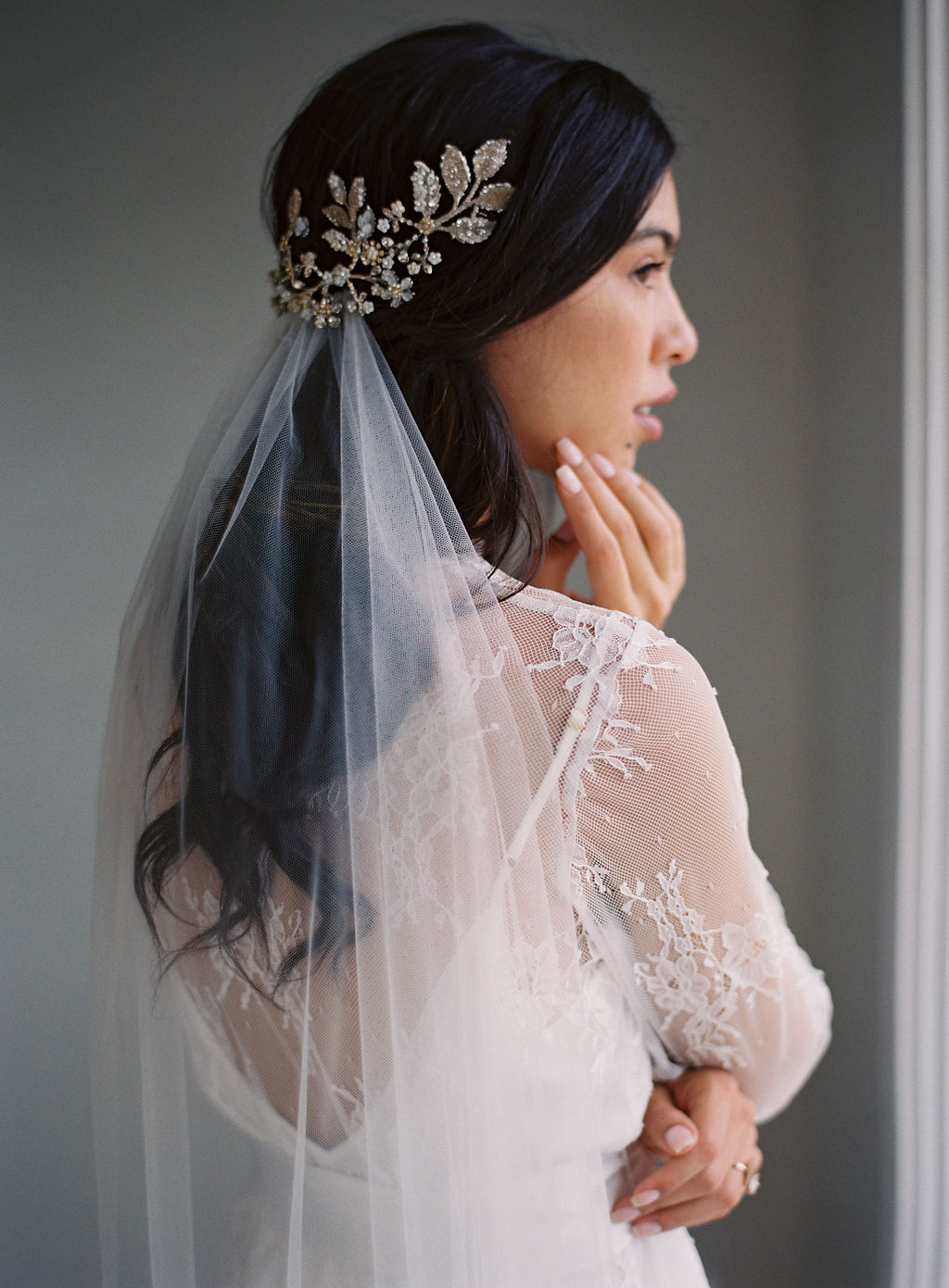 lace bridal robe french lace robe girl and a serious dream tulle veil
