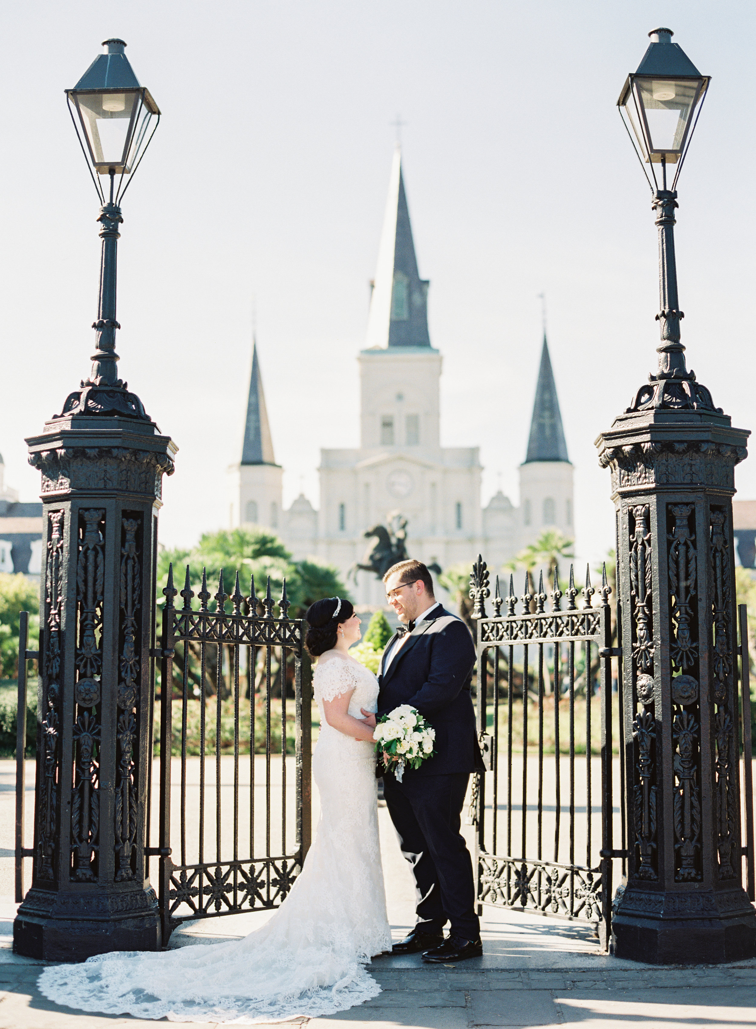 bride wearing violette by ines di santo gown at her classic catholic wedding in New Orleans