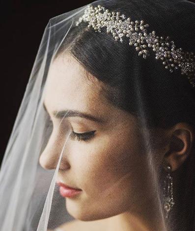 bridal crown veil pearl crown