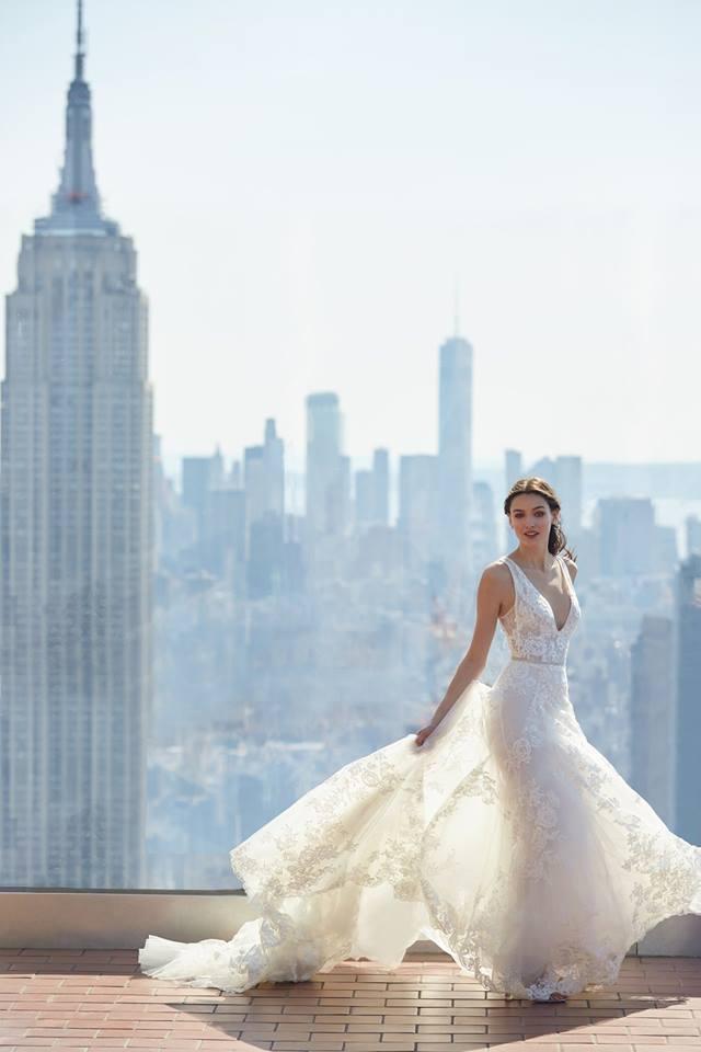 monique lhuillier lace gown v neckline gown drop waist gown
