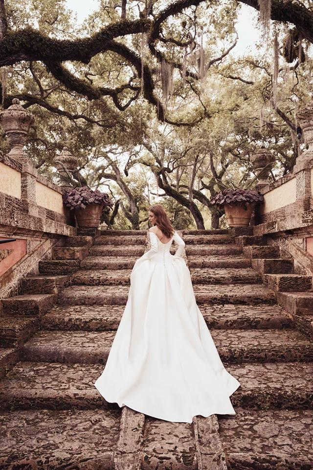 monique lhuillier gown off the shoulder white dress