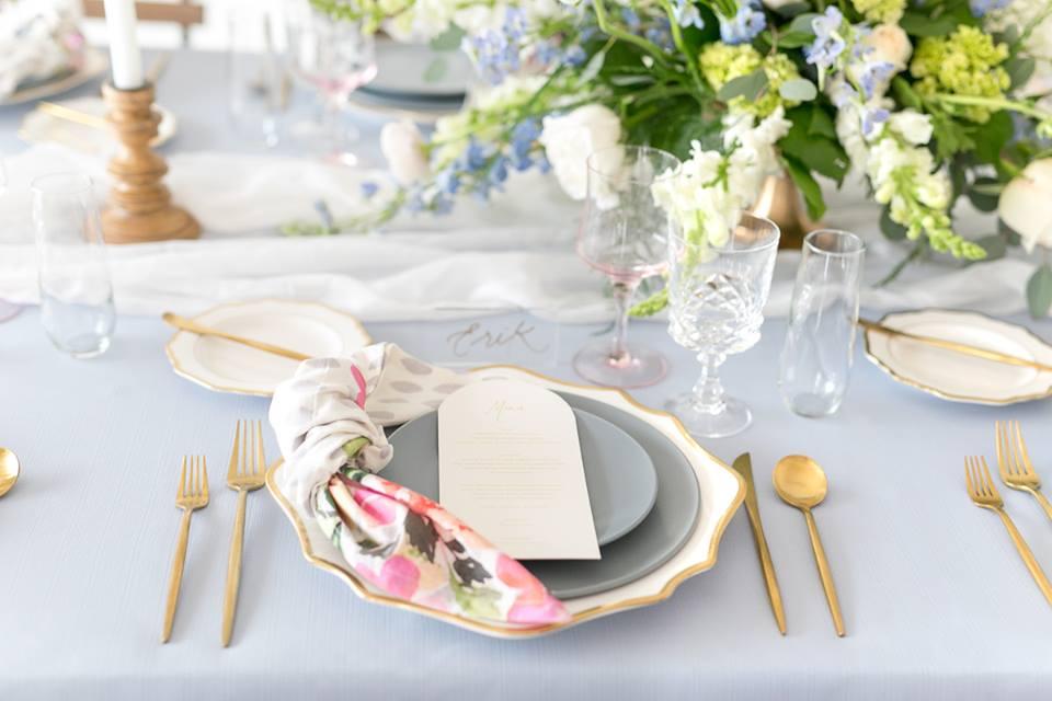 gold silverware spring wedding tablescape