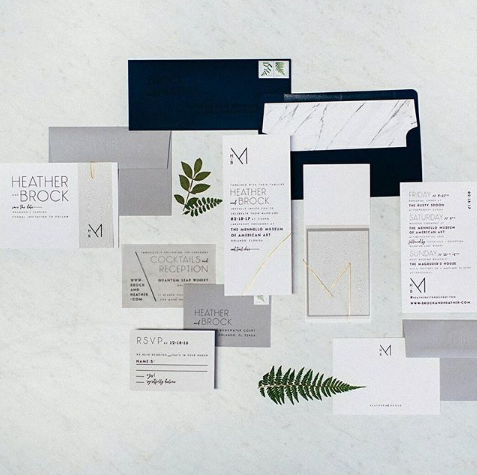 grey white and navy blue wedding stationary