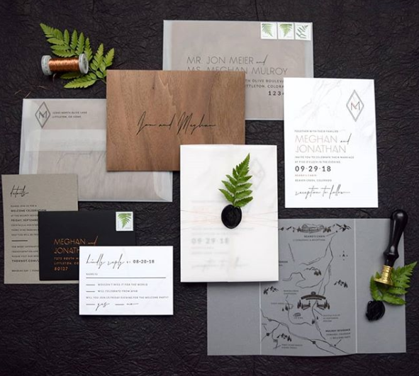 wedding stationary dark colored