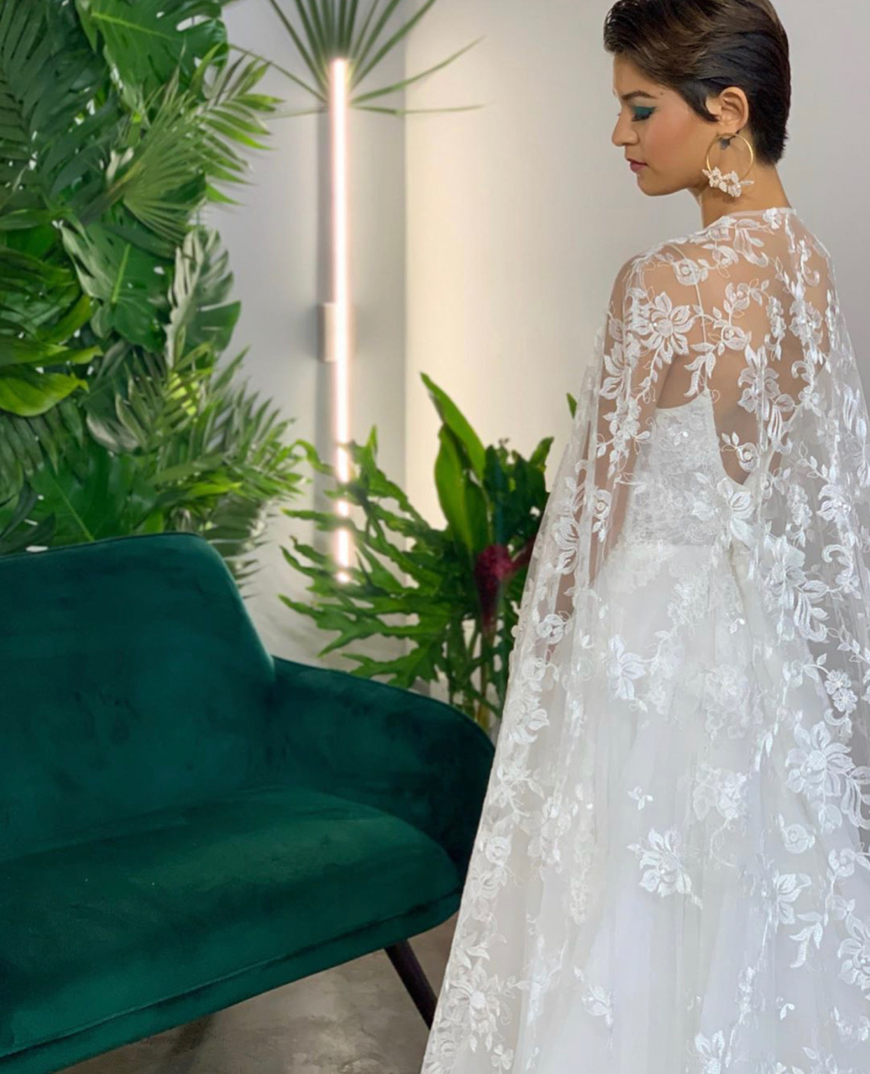 lace bridal cape girl and a serious dream orlando events runway wedding planning