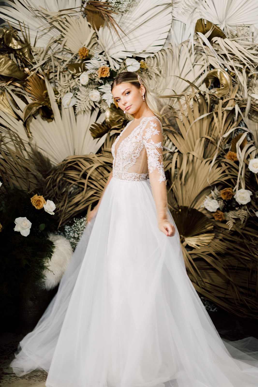 the bridal finery orlando REVEL events ines di santo ball gown with sleeves