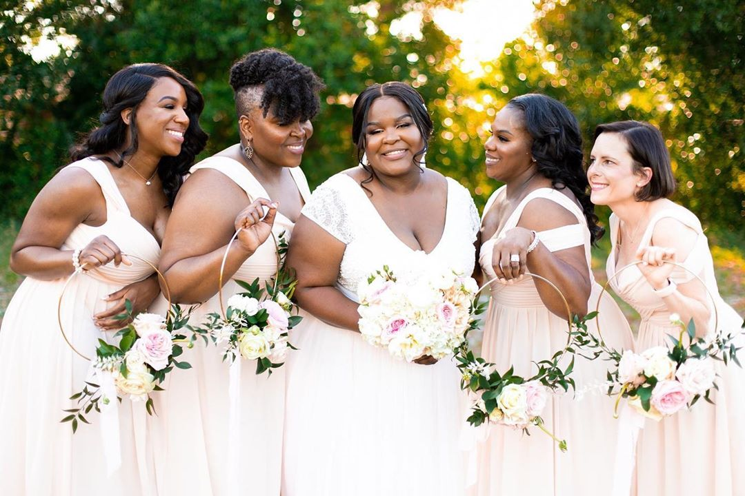 Theia wedding gown blush pink bridesmaids dresses central florida wedding