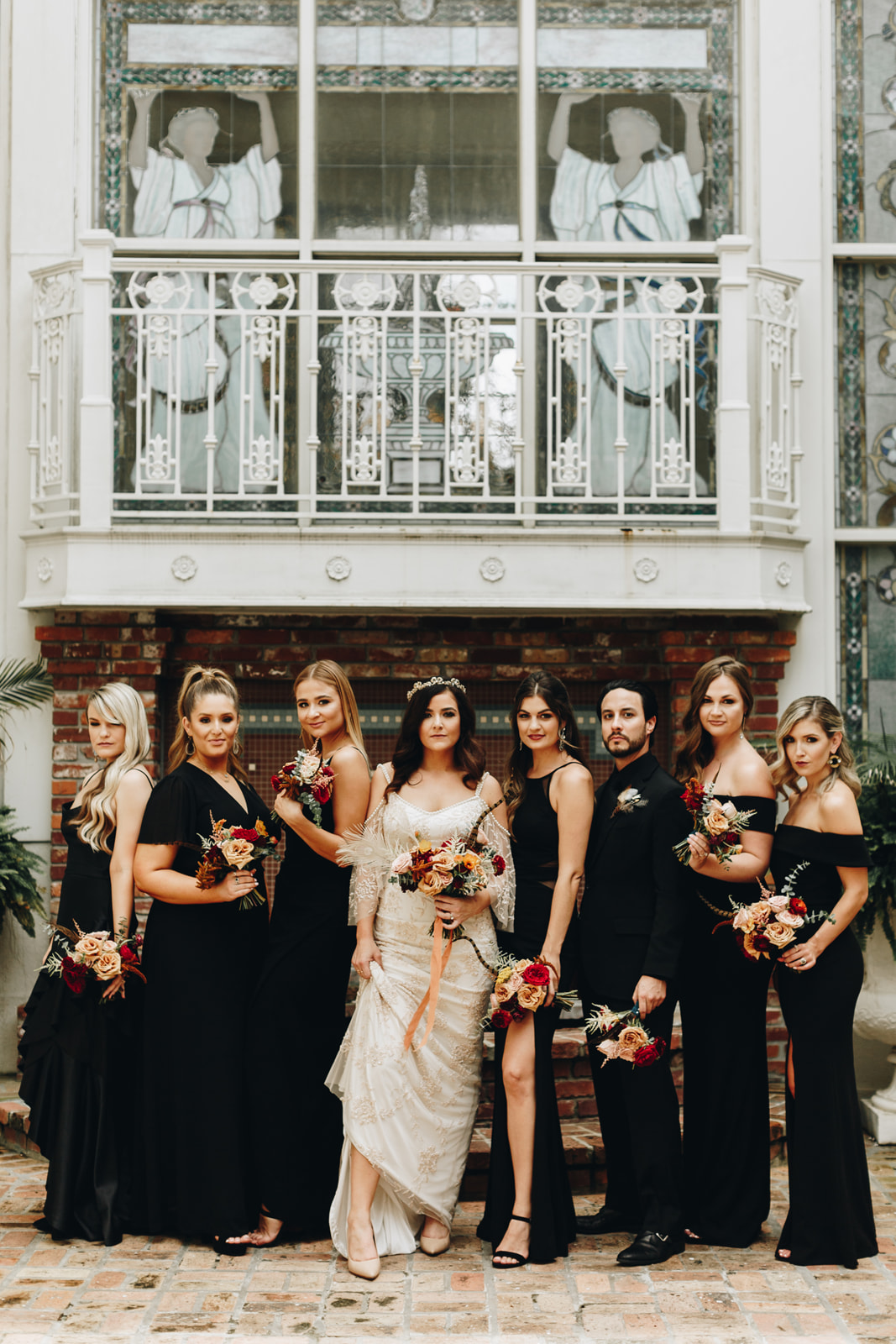 black bridesmaids dresses at downtown orlando wedding