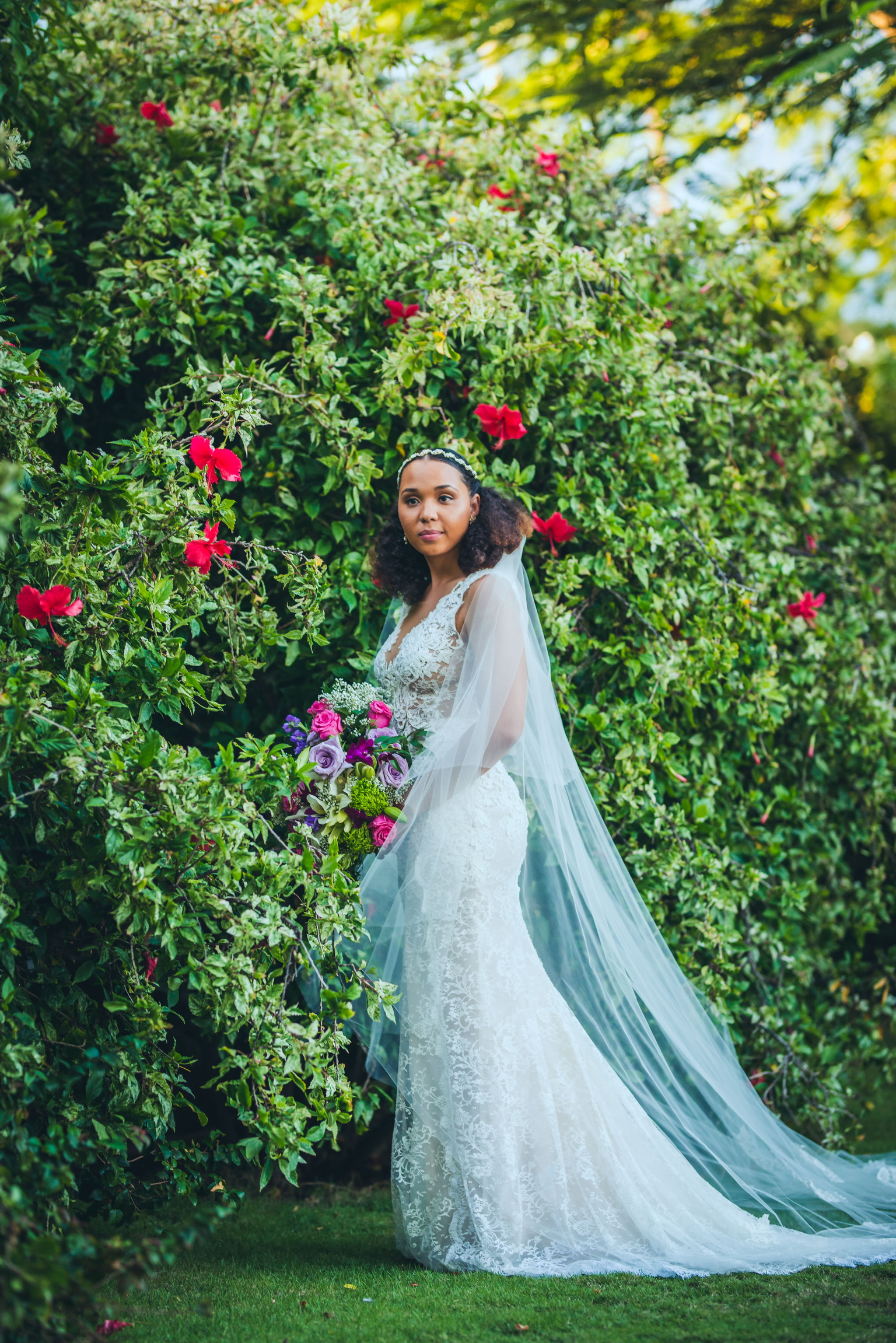 garden wedding st kitts ines di santo real bride girl and a serious dream tulle veils