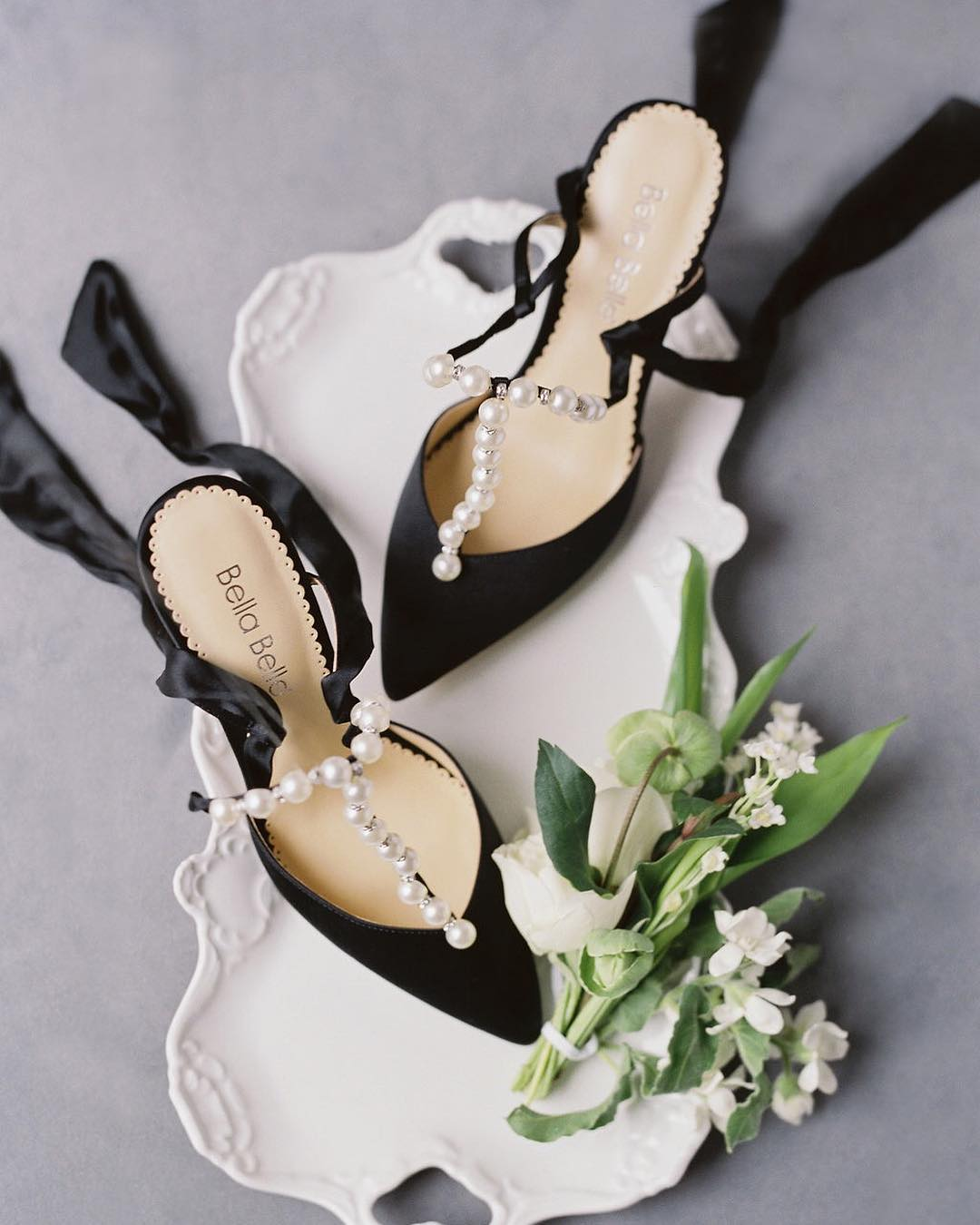 bella belle shoes black and pearl heels for a museum wedding.jpg