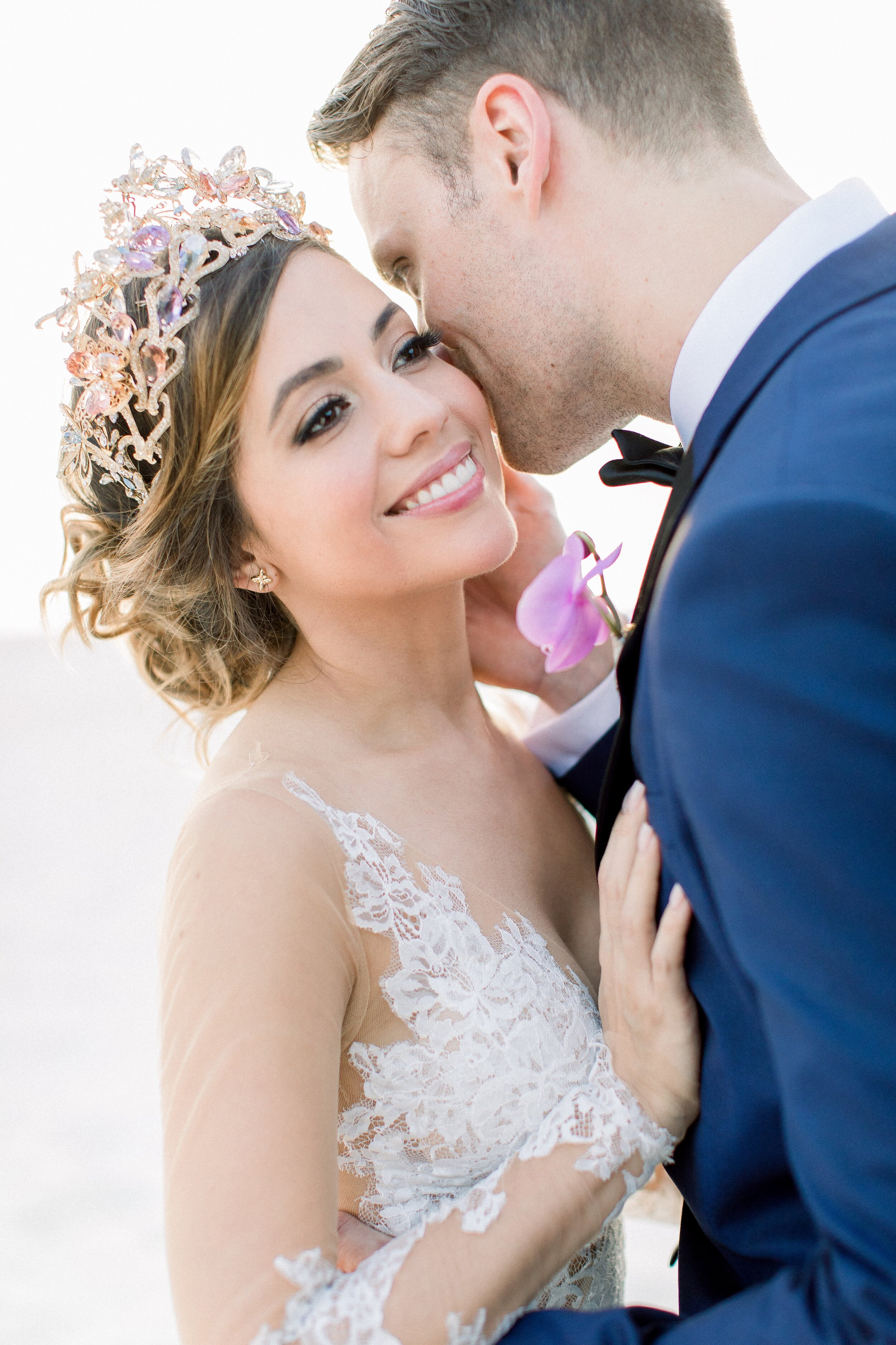 bride wears maria elena headpeices lazaro butterfly crown to destination wedding