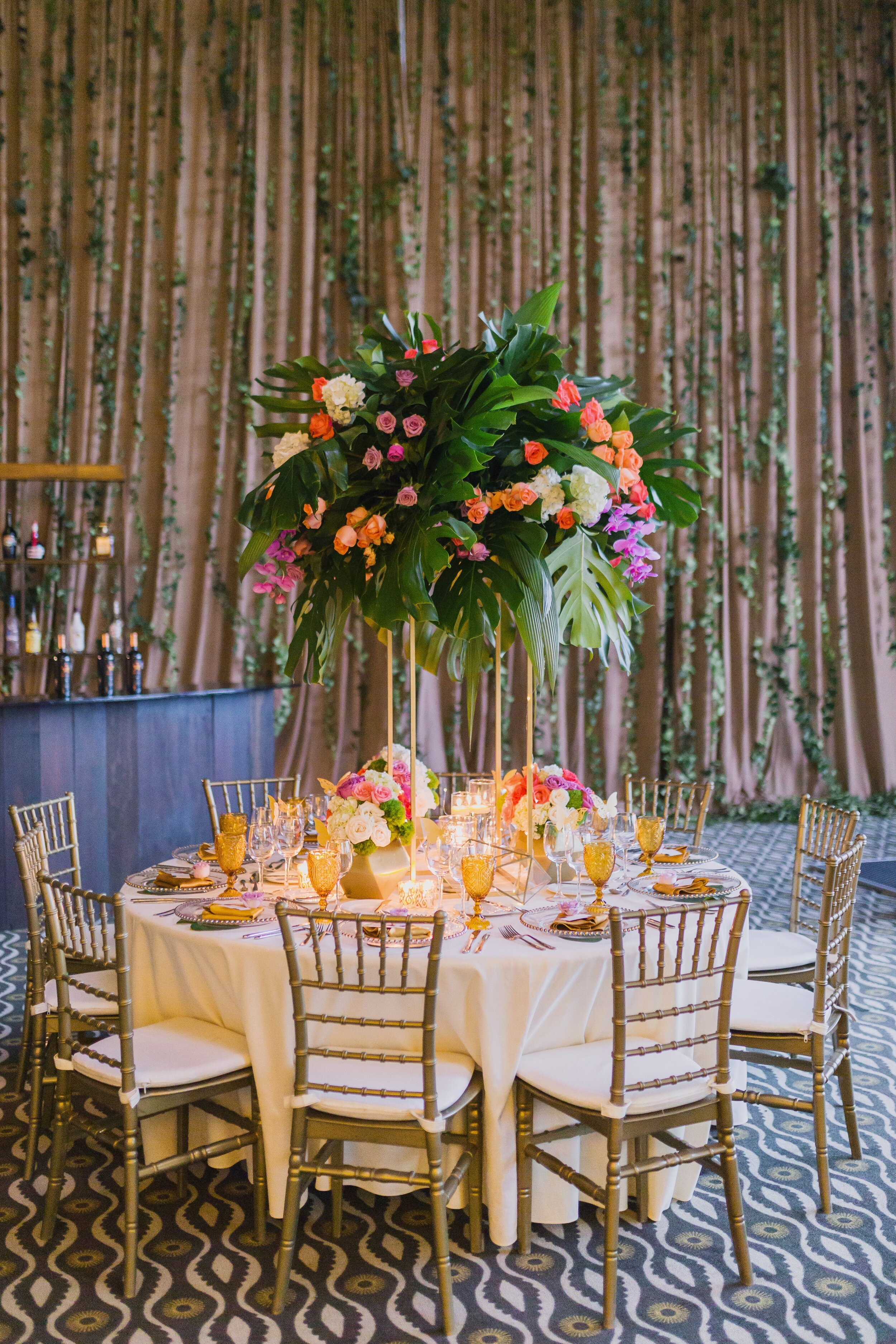 summer wedding decor at destination beach wedding in cancun mexico