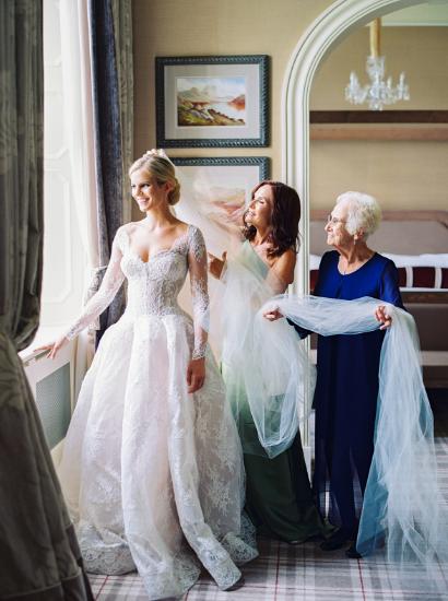 monique lhuillier bride wearing alexandra lace wedding gown to ireland wedding