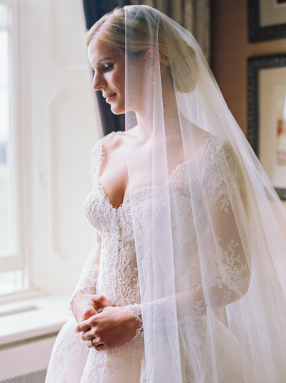 monique lhuillier bride wearing alexandra wedding gown to ireland cathedral ceremony