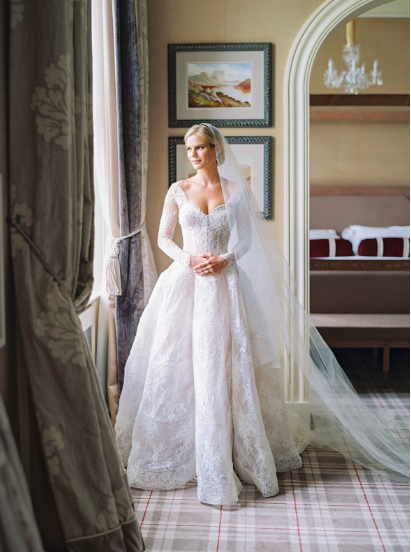 monique lhuillier alexandra wedding gown at ireland weddiing with lace long sleeves