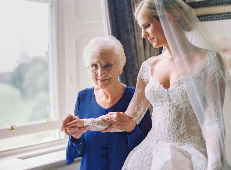 grandmother of the bride blue dress with lace ball gown at wedding in ireland